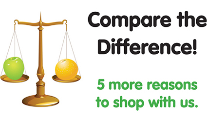 Compare the Difference!  |  5 more reasons to shop with us.