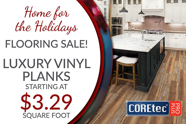 COREtec Pro Plus Luxury Vinyl planks starting at $3.29 sq.ft. during the Home for the Holidays flooring sale at BK Flooring in Evansville!